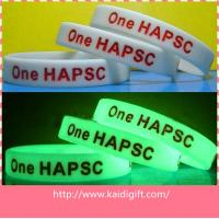 China Customized Sports Silicone Bracelets , Colorful Screen Printing LOGO Wristbands In Night on sale