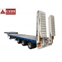 China Long Item Heavy Duty Gooseneck Trailer Numerical Control , Heavy Equipment Flatbed Trailers  Extendable on sale