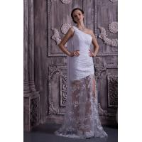 Chic One Shoulder Mermaid Lace Chiffon White Long Evening Party Gowns With Sash Manufactures