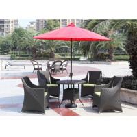 Grey Outdoor Rattan Furniture Simple Coffee Table And Chair With Umbrella Manufactures