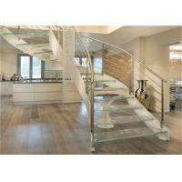 Interior Wrought Iron Curved Wooden Staircase , Floating Wood Stairs Customize Size Manufactures