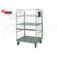 China Metallic Removable Foldable Roll Cage Trolley With Shelves For Warehouse for sale
