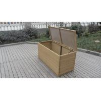 China Resin Wicker Storage Box , All Weather Plastic Rattan Cushion Box on sale