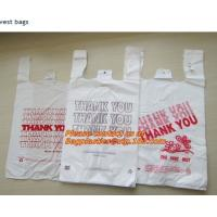China Custom Print Hdpe Plastic T Shirt Bags with Gusset, hdpe bags, ldpe bags, pp bags, sacks on sale
