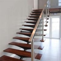 China Residential Hot Mono Aquare Wrought Iron Stringer Staircase with AU/ANSI Standard Glass Designs on sale