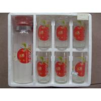 China Round decal Logo Drinking Glass Cup and 1L Jar decal Logo Printing Set / Sets of 6 on sale