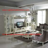 Quality Neoclassical Living Room Furniture by Pure white Wall Unit and Coffee table with for sale