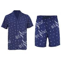 Anti Pilling Mens Luxury Sleepwear Woven Cotton Poplin Printed Pajamas Shorts