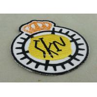 Customized Embroidered Badge For Business Promotion , Black Merrow Eedge Manufactures