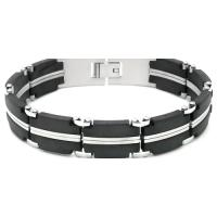 China Fashion ge, ion, infrared silicone magnetic stainless steel bangle for health  on sale