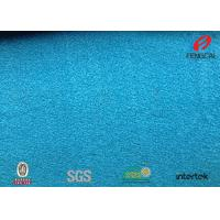 Warp Knitting Polyester Velour Fabric , Solid Aqua Green Velvet Chair Fabric Manufactures