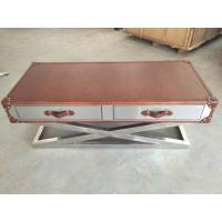 Stainless Steel Frame Side Coffee Table Top Genuine Leather Italian Style Manufactures