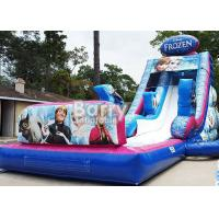 0.55mm PVC Frozen Inflatable Water Slide With Pool / Giant Amusement Water Park Game Manufactures