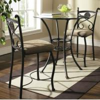 Black Glass Round Dining Table Modern Chrome Legs Living Room Furniture Manufactures