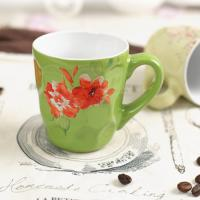 China Promotional Ceramic Coffee Mugs Microwave Safe Embossed Customized Flower Pattern on sale