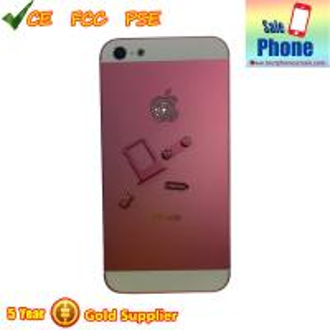 China iPhone 5 Diamond Back Cover with Diamond APPLE Logo Pink on sale