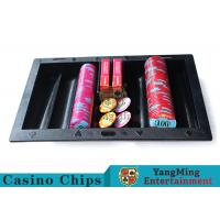 Texas Holdem Casino Chip Tray Black Color , Comfortable Touch Casino Chip Holder Manufactures