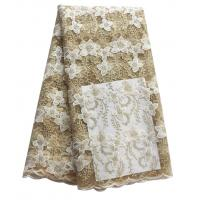 Simple and elegent white african lucky flower lace wholesale stock best beautiful lace fabric for wedding Manufactures