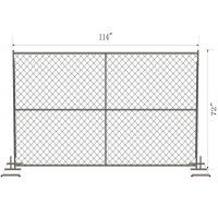 American Temp Chain Link Fence Fabric 6 Ft X 8 Ft Perimeter Patrol Panels Galvanized GAW Manufactures