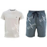 Cotton Jersey Men'S V Neck Pajamas / Mens T Shirt And Woven Shorts Pyjamas With Side Pockets Manufactures