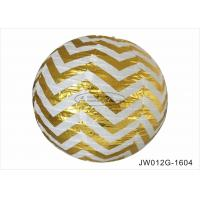 China Hot Gold Stripe Round Paper Lanterns Indoor 12 Inch Shiny Easy Assembling on sale