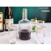 Eco Gold Design On Top Glass Water Cup , Drinking Tea Cup Shot Glass Set Manufactures