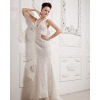 Sexy Summer Lace Fishtail Deep V Neck Wedding Dresses with illusion lace back Manufactures
