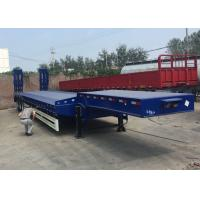 Low Bed Semi Truck Trailer 3 Axles 80T Loading Construction Machine / Heavy Equipment Manufactures