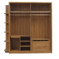 Open doors cloth armoire by wood panel with Sock and tie tray inside drawer chest in metal sliding rail outside racks Manufactures