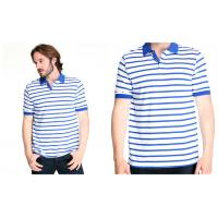 customized 100% cotton mens polo shirt with white and blue stripes Manufactures