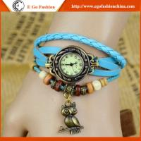 Quality Owl Bird Pendant Watch Vintage Bracelet Watch Genuine Leather Watch Strap Quartz Watches for sale