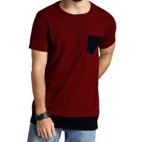 China Plain Dyed Mens O Neck T Shirt , Red Premium Fashionable Mens T Shirts With Pocket on sale