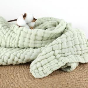 Green Organic Cotton Muslin Fabric Absorbent Plain / Seersucker Style Manufactures