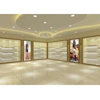 Large Capacity Shoe Display Cabinet Wooden Material Decorated With LED Lights Manufactures