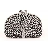 Encrusted Crystal Silver Clutch Evening Bag Large Srorage Space And Pearl Lock Manufactures