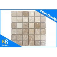 """Square Pattern Natural Travertine Stone Mosaic Flooring Tile 12"""" x 12"""" Marble Wall Tile Manufactures"""