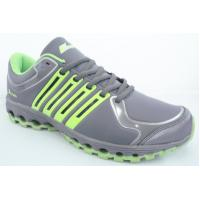 Comfortable Sport Running Shoes Gray / Green Mesh For Children