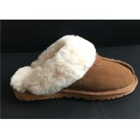 Women's Sheepskin Slippers Shoes Luxurious Sheepskin Closed Toe Slippers Manufactures