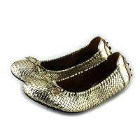 Stitching Handmade ladies elegant flat shoes gold color goat skin Manufactures