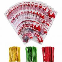 OPP Christmas Cellophane Treat Bags/ Candy Cookie Packaging Bags with Twist Ties Manufactures