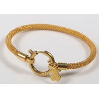 18k Gold Charm Stainless Steel Bangles / Teddy Bear Charm Bracelet For Women Jewelry Manufactures