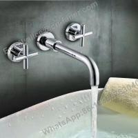 Quality double handle concealed wash basin mixer,Long Water Spout Wall Mounted Bathroom for sale
