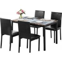 China Wood Dinette Set With Faux Marble Top 4 Dining Chairs Kitchen Dining Room Furniture on sale