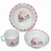Plate/Dish Set, Made of Melamine Material, Customized Sizes, Colors and Designs Welcomed Manufactures