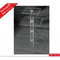 Clear Square Acrylic 4 Tiers Display Stands With Acrylic Rod Stents Manufactures