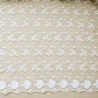 """51"""" Width Floral Embroidered Nylon Mesh Lace Fabric For Curtain / Clothing Manufactures"""