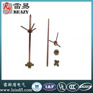 China Pure Copper three-fork lightning rod(Rod diameter:14mm,16mm,20mm  Length:1200mm,1500mm,2000mm,2500mm) on sale