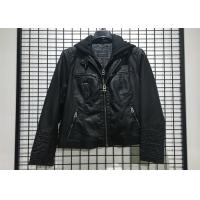 Black PU leather Jacket Mens Faux Leather Biker With Detachable Knit Hood Manufactures