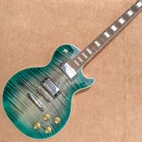 New style high-quality custom LP electric guitar, Green&blue Flame Maple Top Rosewood fingerboard electric guitar, free Manufactures