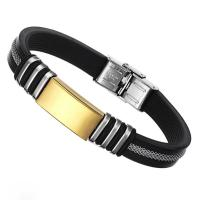 Tagor Stainless Steel Jewelry Super Fashion Silicone Leather Bracelet Bangle TYSR149 Manufactures